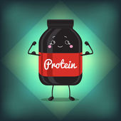 Cute Jar Sport Nutrition, Protein, Gainer, Black, Can Cap Bottle With Label. — Stock Vector