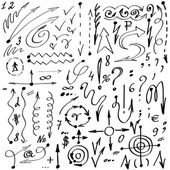 Simple hand-drawn arrows, symbols and numerals. Set vector. — Stock Vector