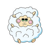 Fun sheep on white background. — Stock Vector
