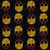 Patrón ornamental de cráneo — Vector de stock