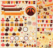 Happy Thanksgiving vector set — ストックベクタ