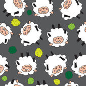 Sheep and shrubs. Seamless pattern. — Stock Vector