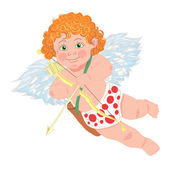 Cupid. Vector character. Template for greeting card. — Stock Vector
