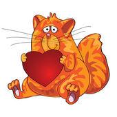 Kat, zittend met hart in zijn poten. — Stockvector