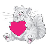 Cat sitting with heart in his paws. — Stock Vector