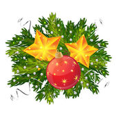 Christmas ball and stars isolated — Stock Vector
