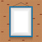 Vector frame for paintings or photographs on the brick wall background. — Stock Vector