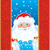 Grandfather Frost. Santa Claus in red frame with patterns. — Stock Vector