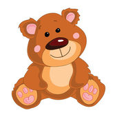 Brown teddy bear on a white background. — Stock Vector