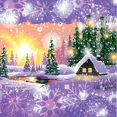 Vector of winter landscape with house in forest. — Vector de stock