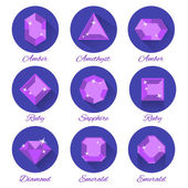 Gems icons vector set — Stock Vector
