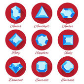 Gems icons vector set — Vector de stock