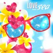 Love and the sea vector summer light illustration — Stock Vector #49261313