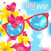 Love and the sea vector summer light illustration — Stock Vector