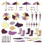 Rubber boots, umbrellas, rain. Vector set. — Stock Vector #49369053