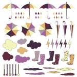 Rubber boots, umbrellas, rain. Vector set. — Stock Vector