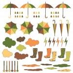 Rubber boots, umbrellas, rain. Vector set. — Stock Vector #49369057