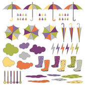 Rubber boots, umbrellas, rain. Vector set. — Stock Vector