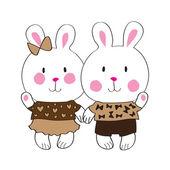 Cute bunny with love letter — Cтоковый вектор