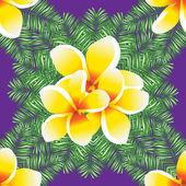 Plumeria seamless vector pattern palm leaves. — Stock Vector