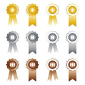 Medals with ribbons on white background first second and third place — Stock Vector