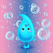Water drop. Vector character. Cute cartoon. — Stock Vector