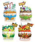 Seasons cupcakes on a white background — 图库矢量图片
