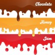 Chocolate, honey, jam drips on white background — Stock Vector #49812273