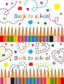 Okula dönüş renkli kalemler illüstrasyon vektör. — Stok Vektör