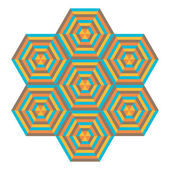 Mosaic of different colors, geometric shapes hexagons — Stockvector