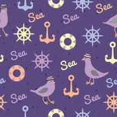 Vintage pattern with seagulls anchors and lifebuoys seamless — Stock Vector