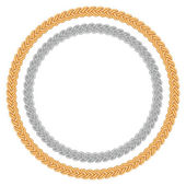 Figured gold and silver chain - round frame. — Stok Vektör