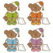 Sleepy bear in pajamas with a pillow and soft toy his hands. Set different colors. — Stock Vector