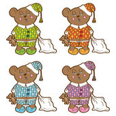 Sleepy bear in pajamas with a pillow and soft toy his hands. Set different colors. — Vector de stock