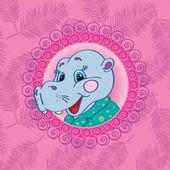 Hipopótamo en un fondo de color rosa con hojas de palma plantilla para tarjetas de felicitación, cojines decorativos, bolsos — Vector de stock