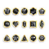 Colorful gems - black. Set realistic gemstones — ストックベクタ