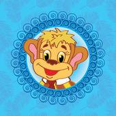 Mono en un fondo azul con hojas de palma plantilla para tarjetas de felicitación, cojines decorativos, bolsos — Vector de stock