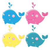Colorful funny whales Vector character — Stock Vector