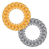 Figured gold and silver chain - round frame. — Stockvector