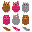 Owls vector pink brown gray plumage — Stock Vector #50807621