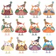 Owls in winter hats colored vector — Stock Vector #50808137