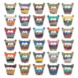 Colorful owls Vector set on white background — Stock Vector #50808811