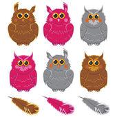 Owls vector pink brown gray plumage — Stock Vector