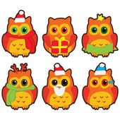 Owls in winter hats colored vector — Stok Vektör