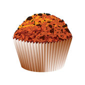 Muffin with chocolate cake. Vector object — Cтоковый вектор