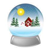 Glass ball with the installation of winter inside. — Stock Vector