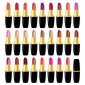 Establecer lápiz labial diferentes colores. vector de objetos en el fondo blanco. — Vector de stock