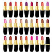 Set lipstick different colors. Vector object on white background — Vettoriale Stock