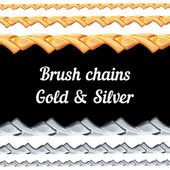 Set of chains metal brushes - gold and silver. — Stock Vector
