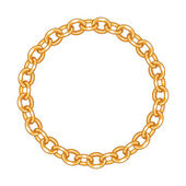 Round frame vector - gold chain on the white background — Stock Vector